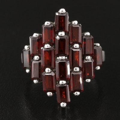 Sterling Garnet Cluster Ring
