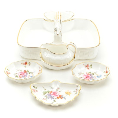 Hammersley Bone China Strawberry Basket with Royal Crown Derby Dishes