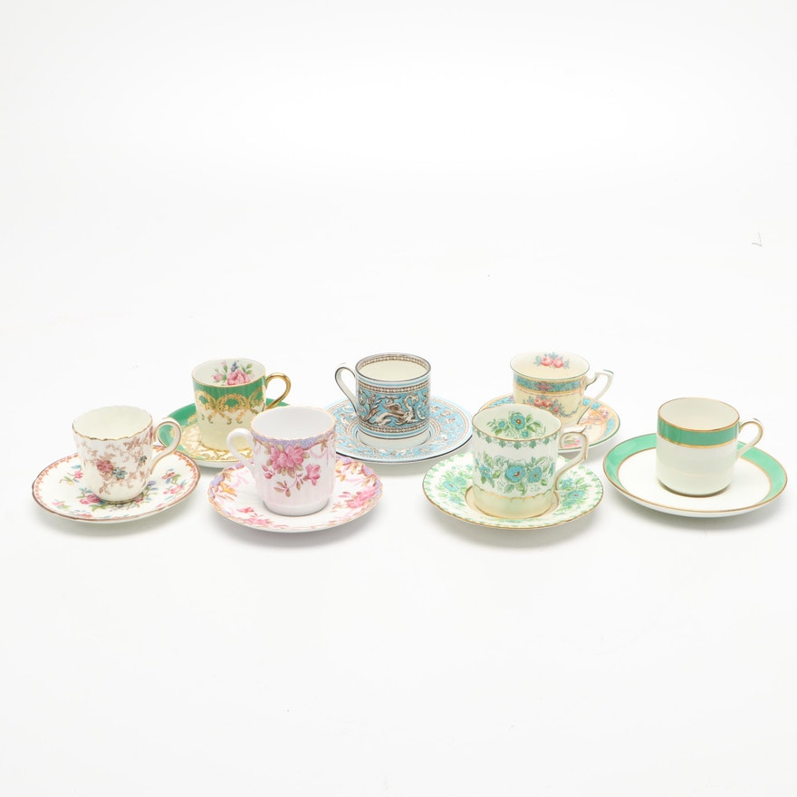 Spode, Royal Crown Derby, and Other Porcelain Demitasse Cups with Saucers