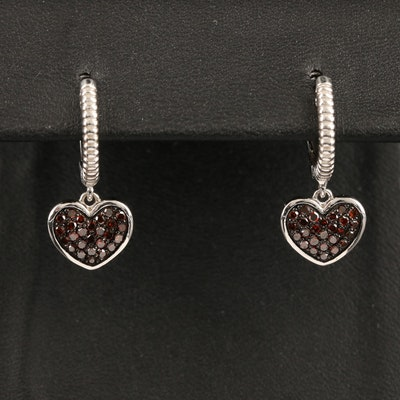 Sterling Silver Pavé Diamond Huggie Heart Drop Earrings