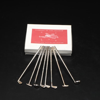 Flowers of the Meadow Silver Plate Golf Club Cocktail Stirrers