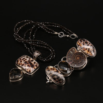 Sterling Ammonite, Shell and Gemstone Pendant Necklace and Bracelet