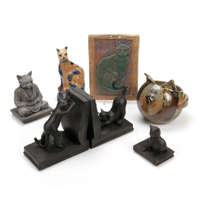 Cat Shaped Bookends and Decor, Late 20th to 21st Century