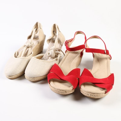 Lands' End Reese Low Wedge Sandals in Red and Mid-Wedge Espadrilles in Linen