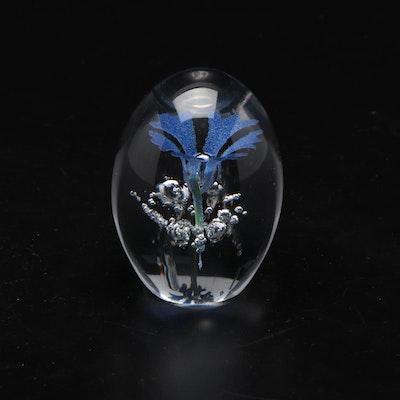 Daum Art Glass Sphere Paperweight With Flower