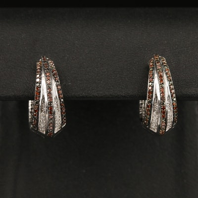 Sterling Silver Diamond Huggie Earrings