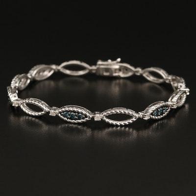 Sterling Diamond Station Bracelet