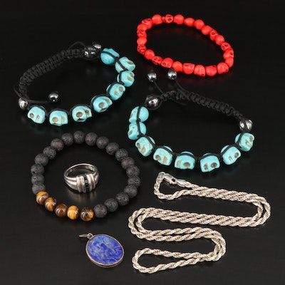 Gemstone Bracelets with Sterling Rope Chain, Ring and Cameo Pendant