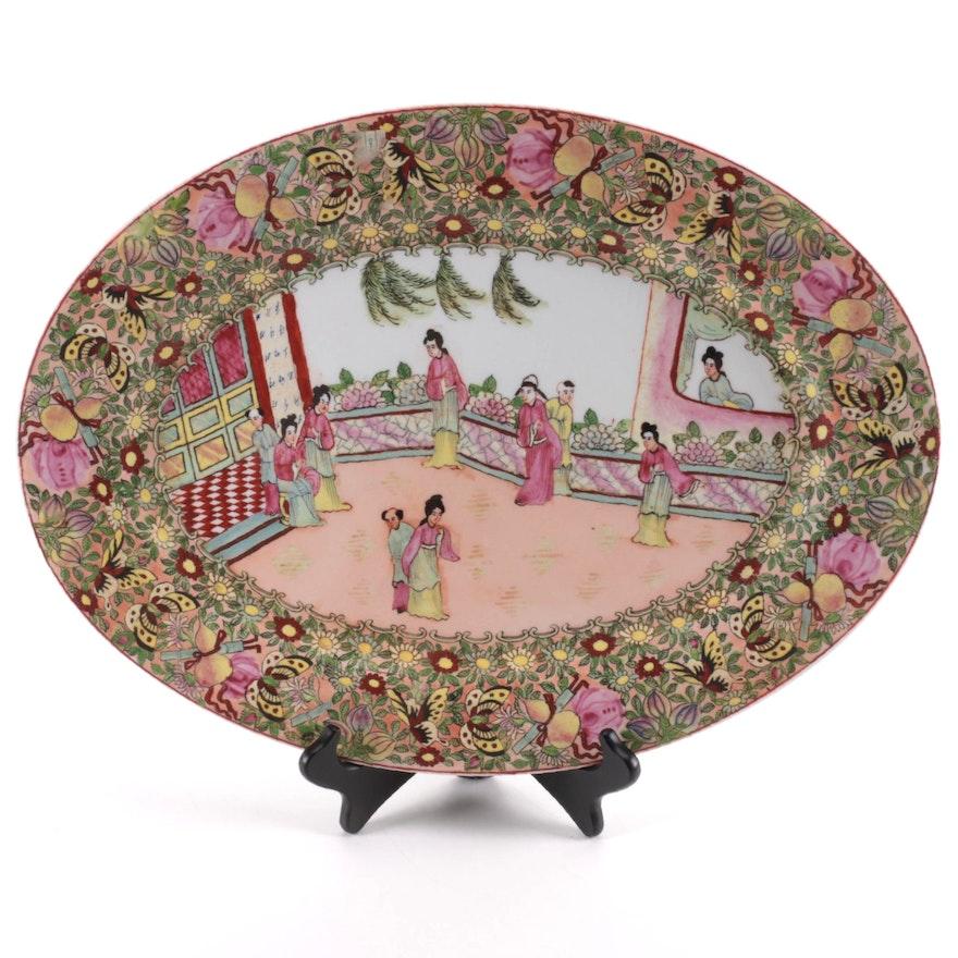 Chinese Rose Mandarin Style  Porcelain Oval Platter