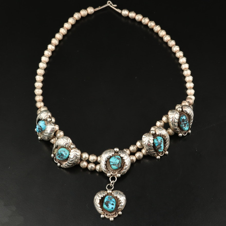 Southwestern Sterling Turquoise Appliqué Necklace