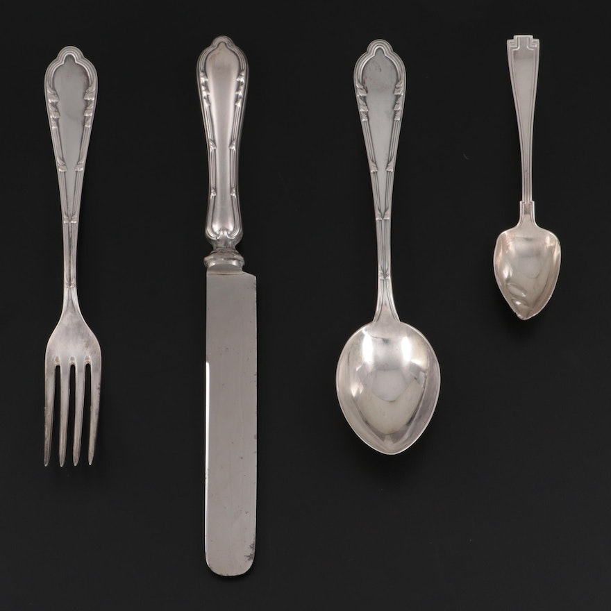 """Gorham """"Etruscan"""" Sterling Silver Spoon with 800 Silver Flatware"""