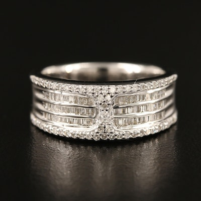 Sterling Silver Diamond Ring with Channels