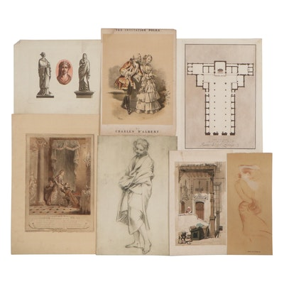 Figurative Engravings and Lithographs and Floor Plan Engraving, 19th Century
