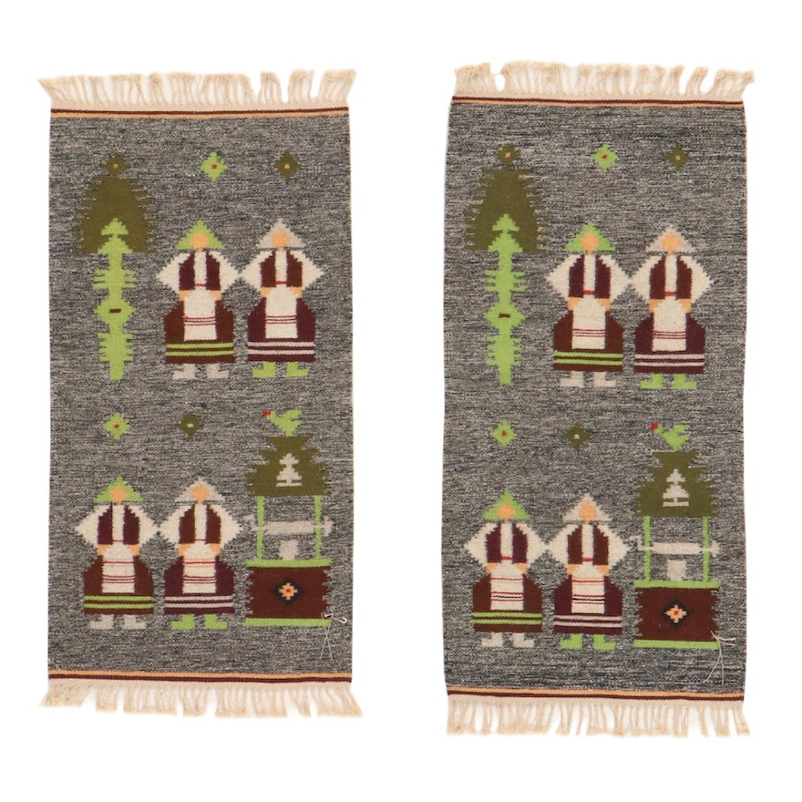 1'8 x 3'7 Handwoven Russian Pictorial Kilim Rug, 1970s