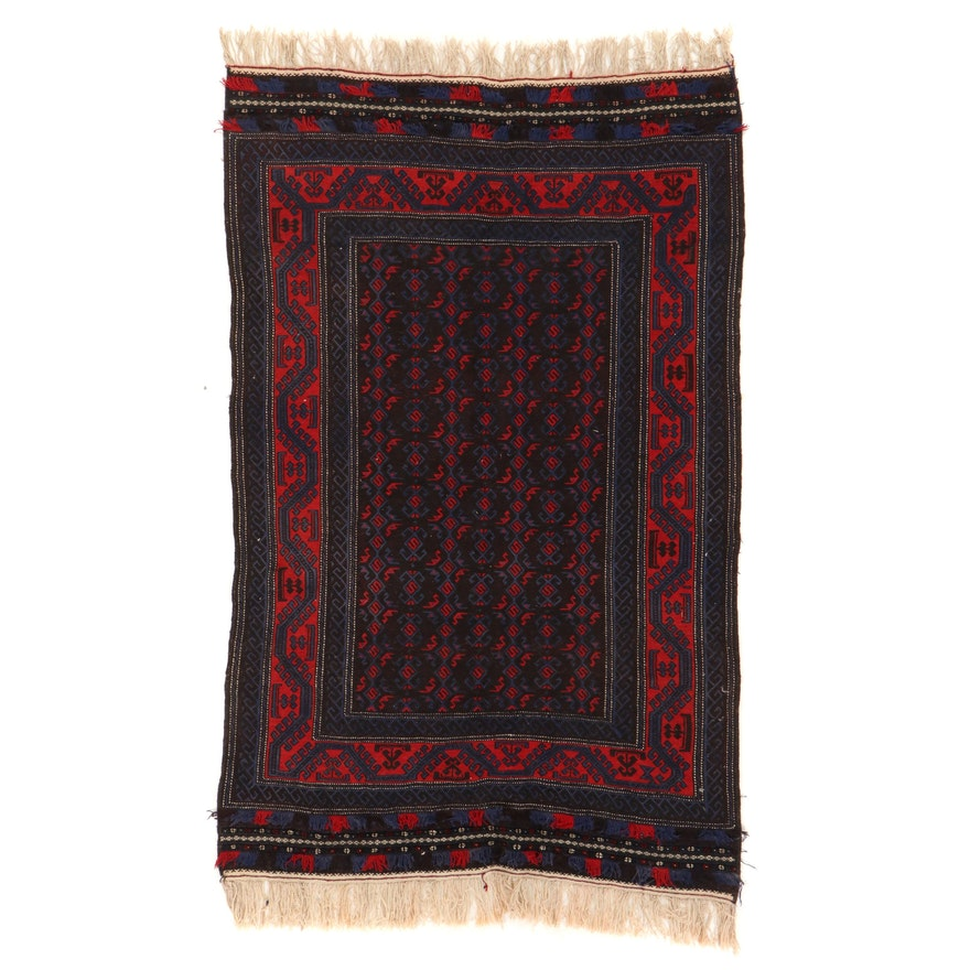 5'8 x 9'9 Handwoven Afghan Baluch Soumak Area Rug