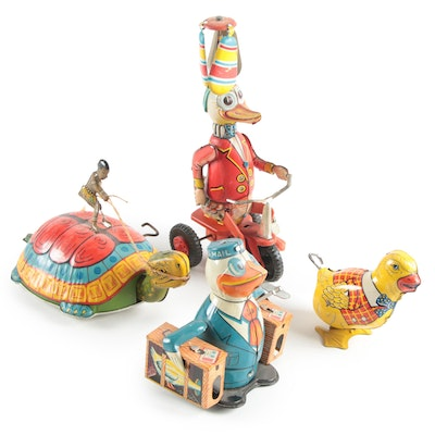 J. Chein & Co., T.P.S., and Other Tin Lithograph Wind-Up Toys, Mid-20th C.