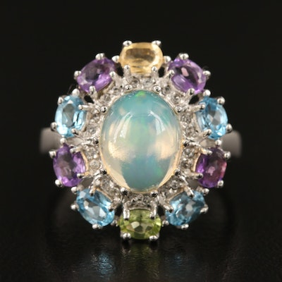 Sterling Silver Opal Ring Featuring Amethyst and Topaz