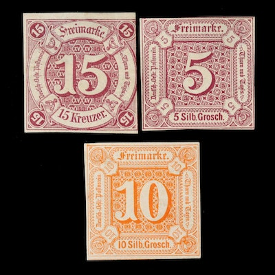 German States Thurn and Taxis Stamps, 5, 10, 15-Groschen, Mid-19th Century