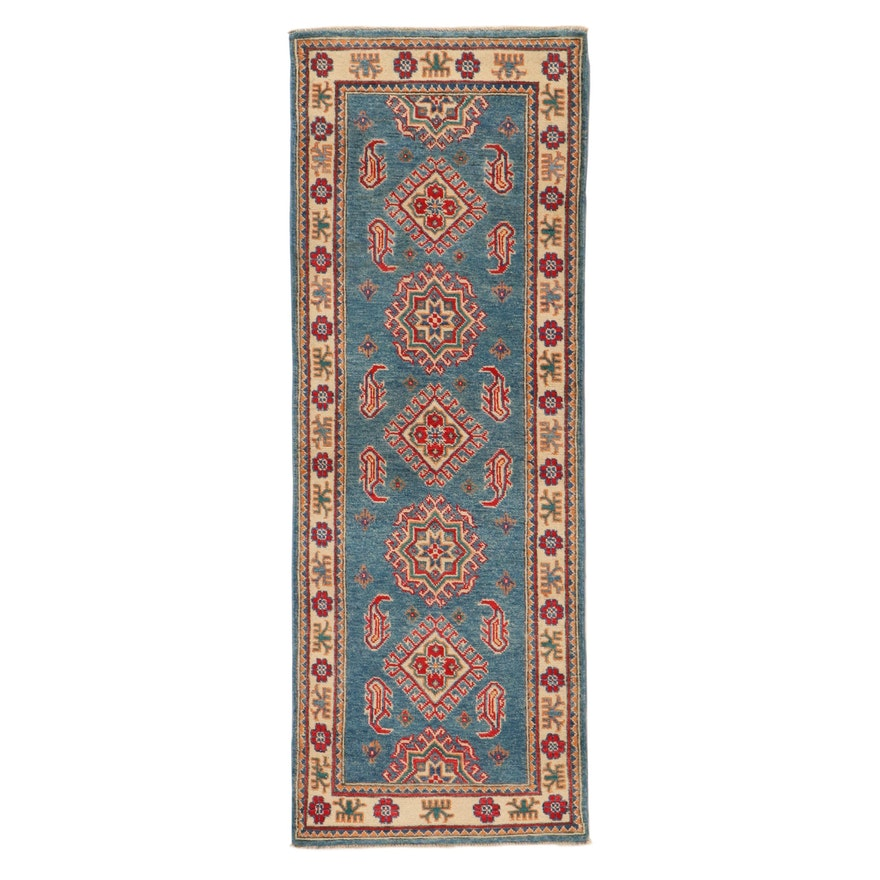 2'1 x 5'9 Hand-Knotted Afghan Caucasian Kazak Long Rug, 2010s
