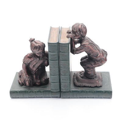 Resin and Composite Children with Books Motif Bookends