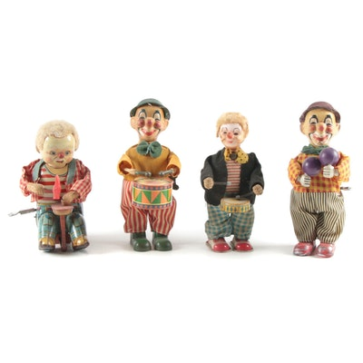 Clown Musical Tin Lithograph Wind-Up Toys, Mid-20th Century