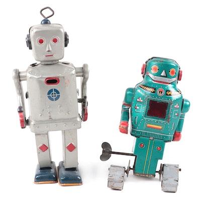 Japanese Wind-Up Tin Robot Toys, Mid-20th Century