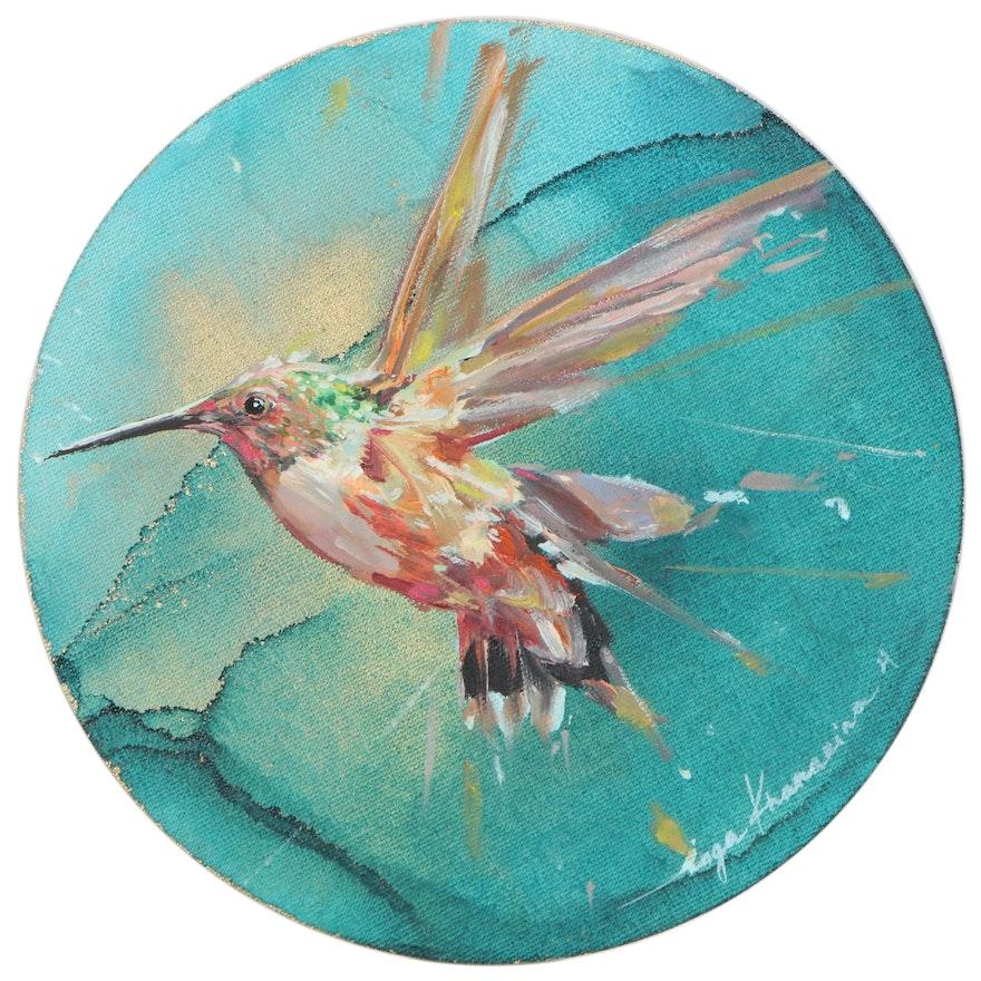 Inga Khanarina Oil Painting of a Hummingbird, 2021