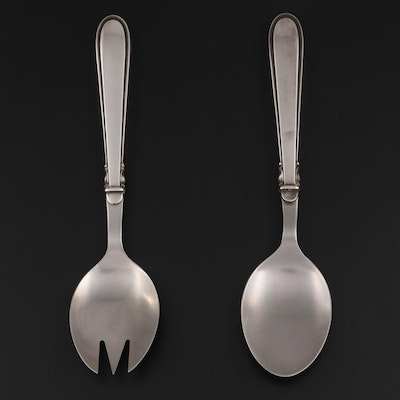 Cohr Sterling Silver Handled Stainless Steel Salad Servers