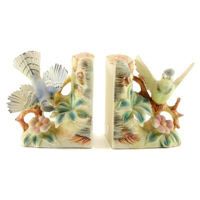 """UCAGCO Japanese """"Blue Jay"""" Porcelain Bookends, Mid-20th Century"""