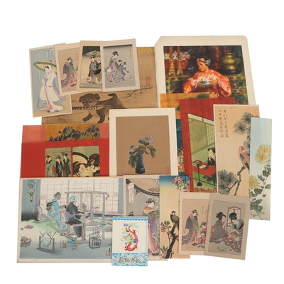 East Asian Art Including Woodblocks and Hand-Painted Paper Cut-Outs