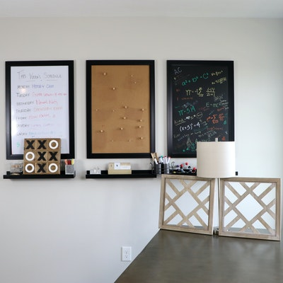 Home School Themed Decor with Wall Shelves, Lamp and Accessories