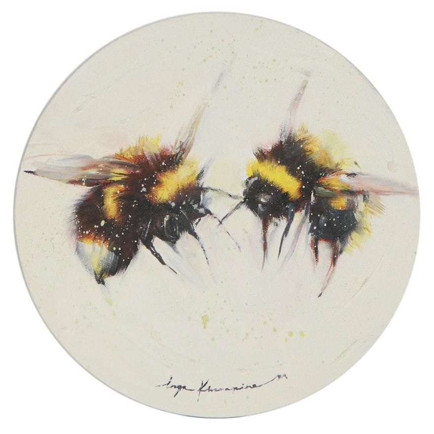 Inga Khanarina Oil Painting of Bumblebees, 2021