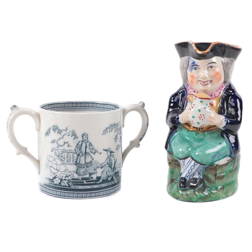 "Blackhurst & Hulme ""Pekin"" Sugar Bowl and Pearlware Style Toby Jug"
