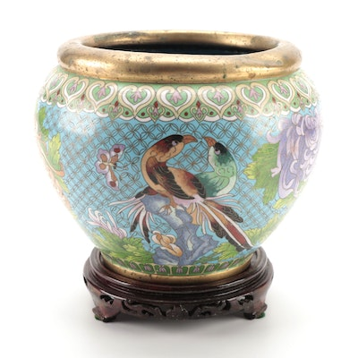 Chinese Cloisonné Birds and Peonies Planter on Wooden Stand