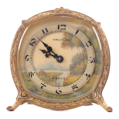 Waltham Hand-Painted 8 Day Brass Desk Clock, Early 20th Century