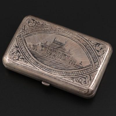 Russian Niello 875 Silver Cigarette Case, Late 19th/Early 20th Century