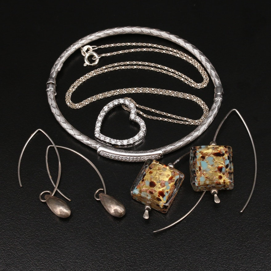 Sterling Jewelry Selection Including Peruvian and Italian Made Pieces