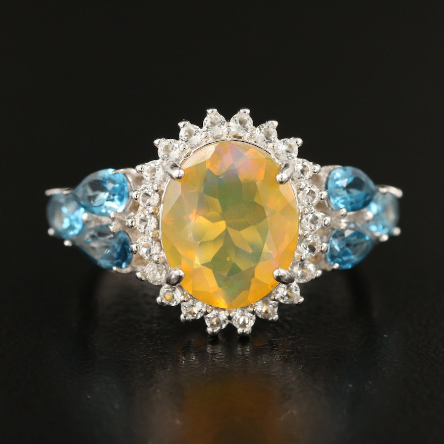Sterling Silver Opal Ring with London Blue and White Topaz Accents
