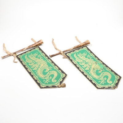 Pair of Masketeers Inc. Green Griffin Motif Metal Banners