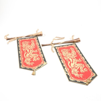 Pair of Masketeers Inc. Red Lion Metal Banners, Mid-20th Century