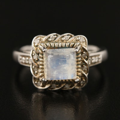 Sterling Silver Moonstone and Diamond Ring