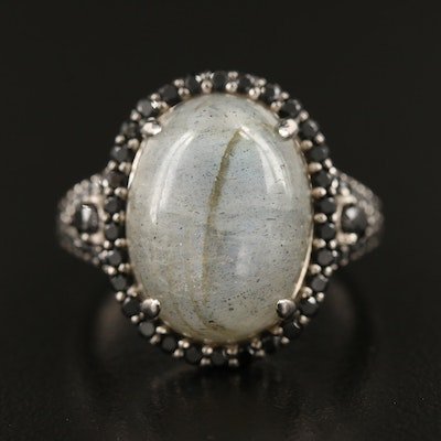 Sterling Labradorite and Spinel Ring