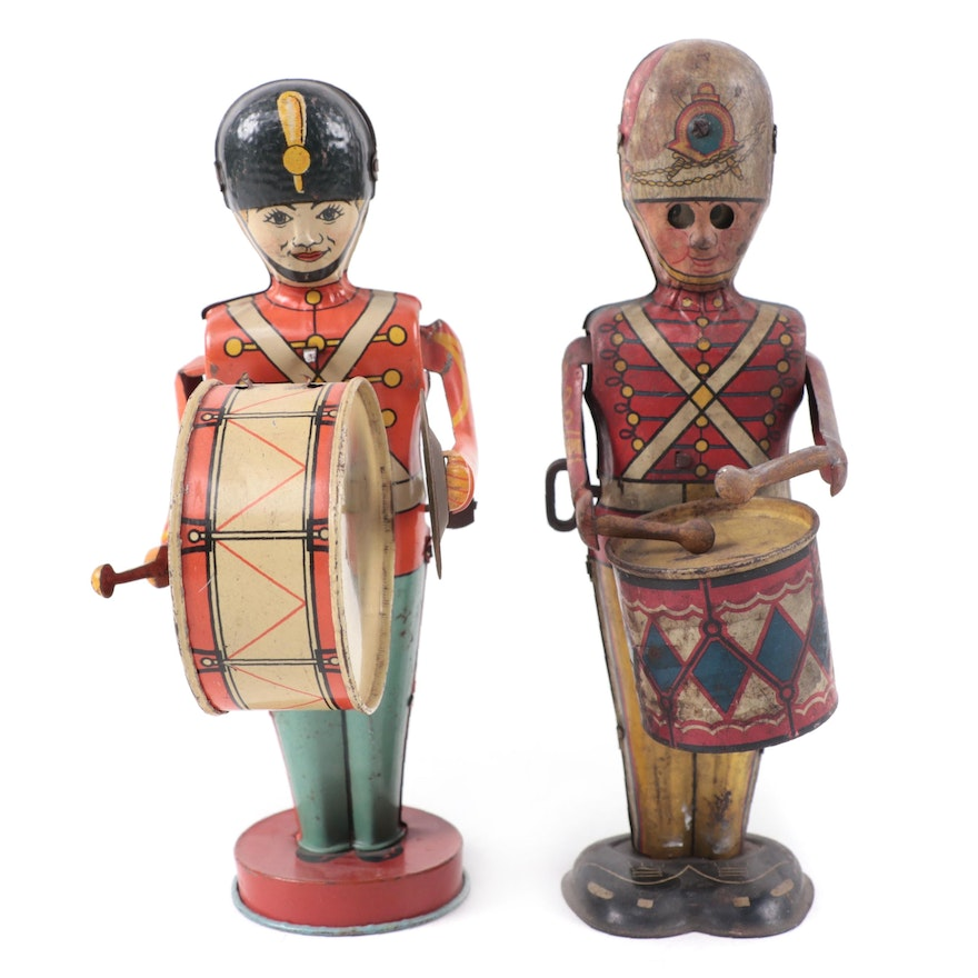 J. Chein & Co. and Marx Tin Lithograph Drummer Wind-Up Toys, 1930s