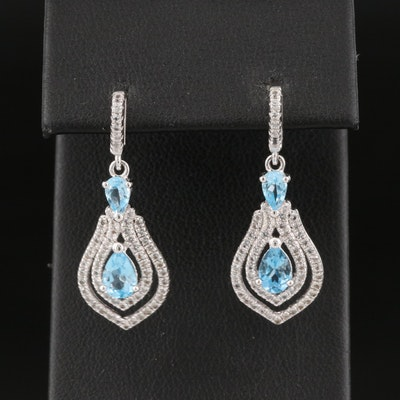 Sterling Sky Blue Topaz  and Topaz Drop Earrings