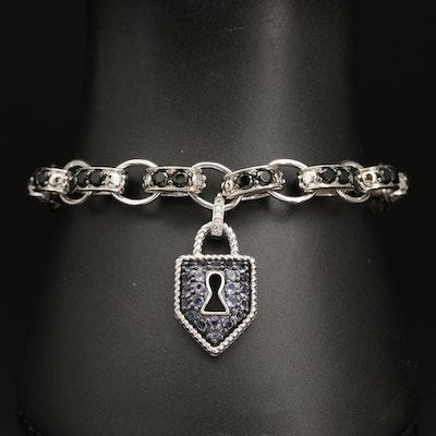 Sterling Iolite and Spinel Keyhole Shield Bracelet