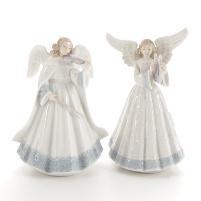 "Lladró ""Heavenly Harpist"" and ""Angelic Violinist"" Porcelain Figurines, 1990s"