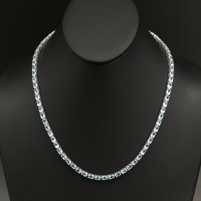 Sterling Sky Blue Topaz Line Necklace