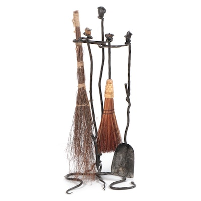 Wrought Iron Fireplace Tool Set with Brooms and Shovel