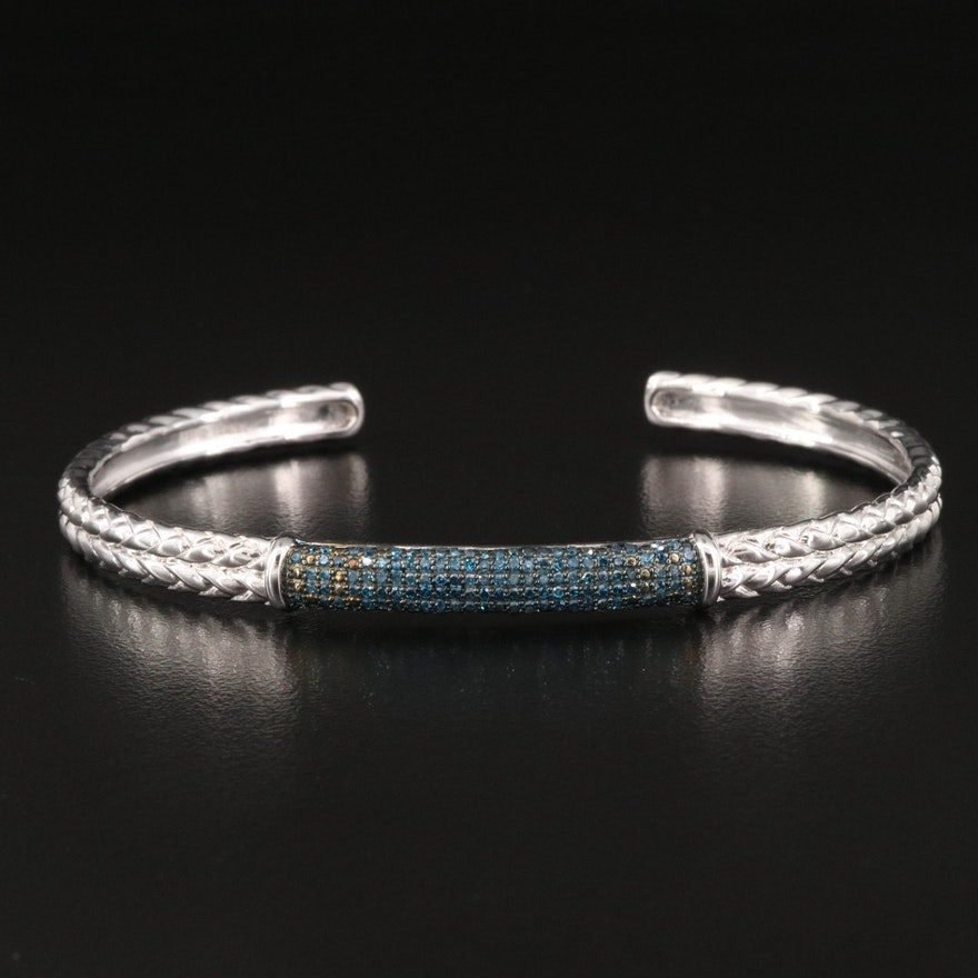 Sterling Diamond Braid Motif Cuff