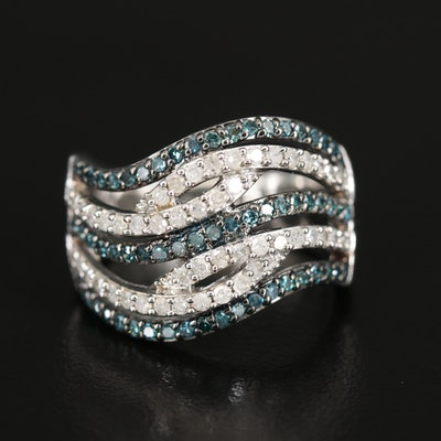 Sterling 1.00 CTW Diamond Wave Ring